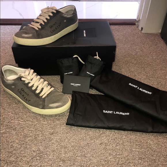 4eeb0bf5f22 Saint Laurent Shoes | Grey Sl06 Court Classic Sneakers | Poshmark